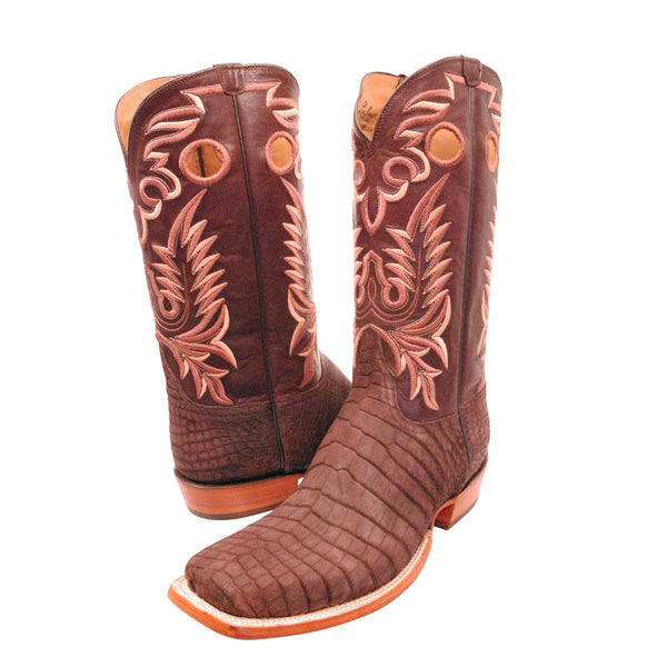 Chocolate Sueded Nile Crocodile Belly Pull Hole Custom Lucchese Boots