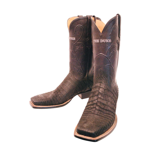 Black Sueded Nile Crocodile Belly Custom Lucchese Boots