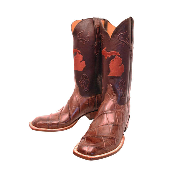 Chocolate Giant Wild American Alligator Custom Lucchese Boots