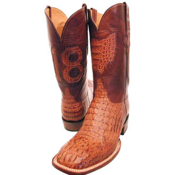 Tan Burnished Horback Caiman Head Cut