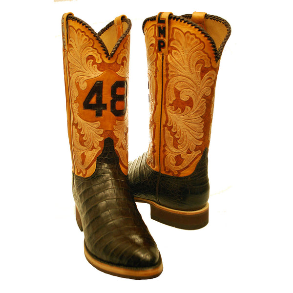 Chocolate Caiman Crocodile Custom Tooled Tops Custom Lucchese Boots