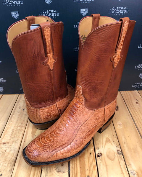 Brand Burnished Ostrich Leg with Tan Ranch Hand Calfskin quarters