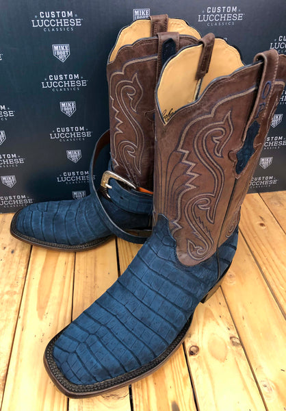 Navy Blue Sueded Caiman Crocodile Belly with Chocolate Ranch Hand Calfskin quarters