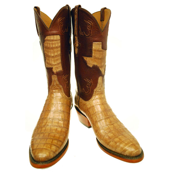 Tan Burnished Caiman Crocodile Belly Vamp with Tan Ranch Hand Calfskin Quarters