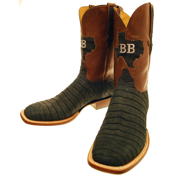 Black Sueded Caiman Crocodile Belly Vamp with Tan Ranch Hand Calfskin Quarters