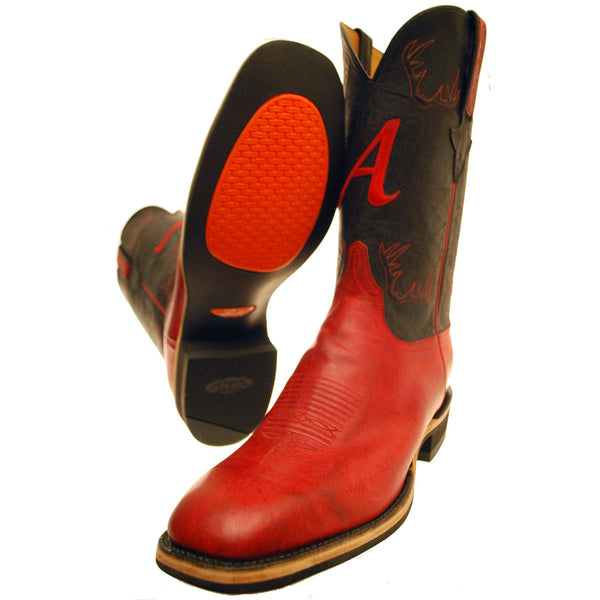 Red Mad Dog Goat Vamp with Black Ranch Hand Calfskin Quarters
