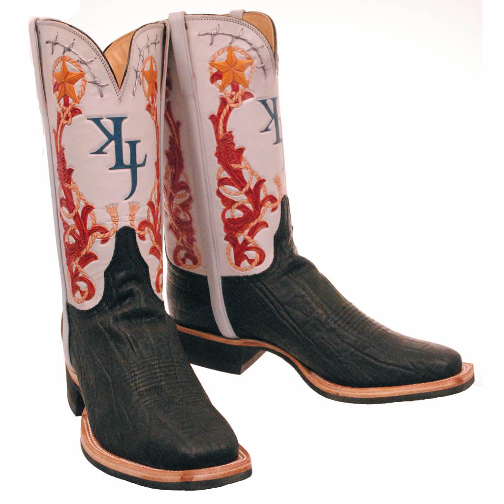 Black Elephant with Custom Family Brand Hand Tooled Quarters Custom Lucchese Boots