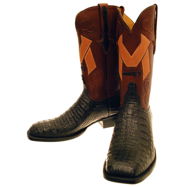 Black Hornback Caiman Crocodile Back Cut Vamp with Tan Ranch Hand Calfskin Quarters