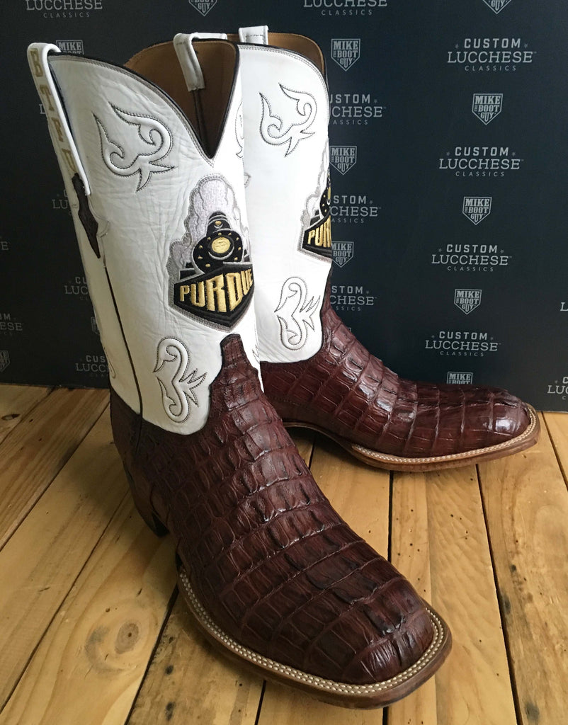 Sienna Hornback Caiman Tail Cut with White Goat quarters