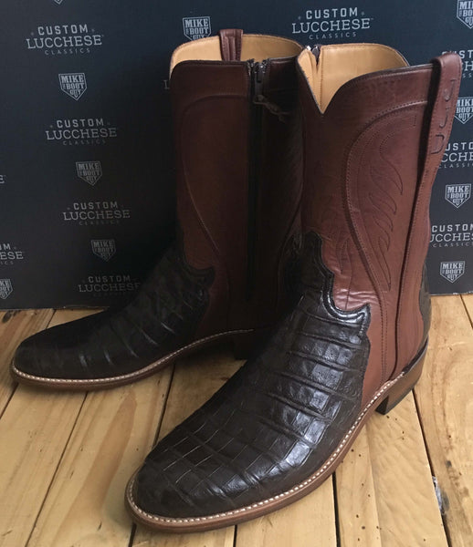 Chocolate Caiman Crocodile Belly with Tan Ranch Hand Calfskin quarters