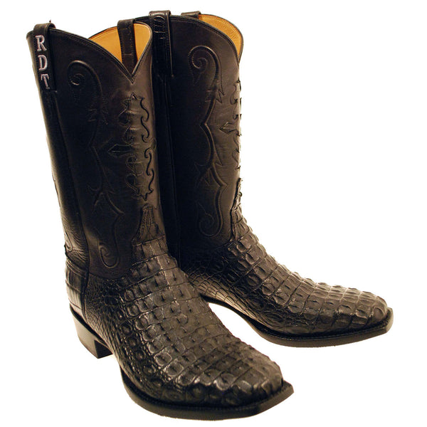 Black Nile Crocodile Back Cut Vamp with Black Ranch Hand Calfskin Quarters