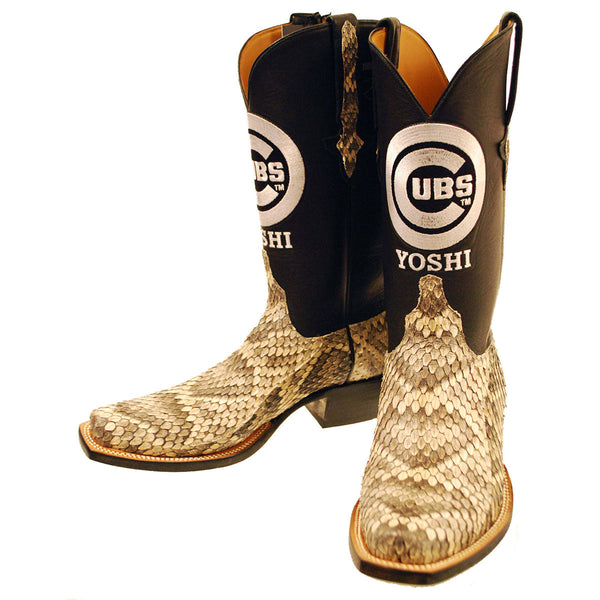 Eastern Diamondback Rattlesnake Vamp with Black Ranch Hand Calfskin Quarters