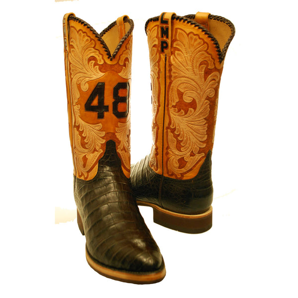 Chocolate Caiman Crocodile with Custom Tooled Tops Custom Lucchese Boots