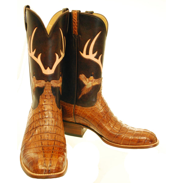 Tan Burnished Hornback Crocodile Tail Cut Custom Lucchese Boots