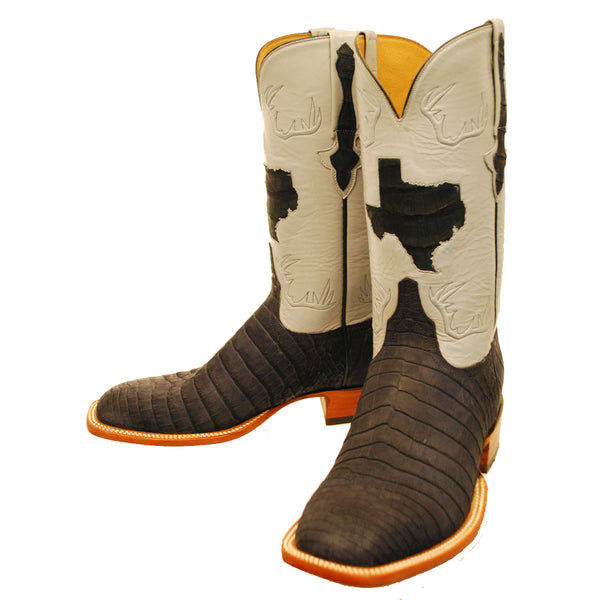 Black Sueded Nile Crocodile Belly Texas State Custom Lucchese Boots