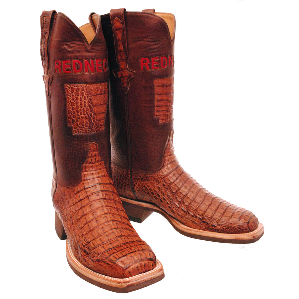 Brown Hornback Caiman Crocodile Back Cut Arkansas State Custom Lucchese Boots