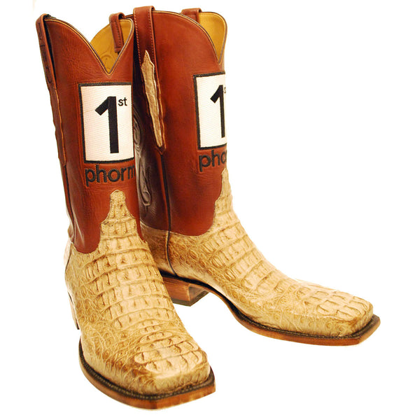 Tan Burnished Hornback Caiman Head Cut Vamp with Tan Ranch Hand Calfskin Quarters