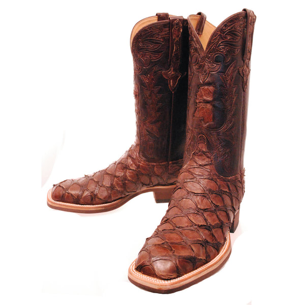 Chocolate Pirarucu Mississippi State Inlay Custom Hand Tooled Custom Lucchese Boots