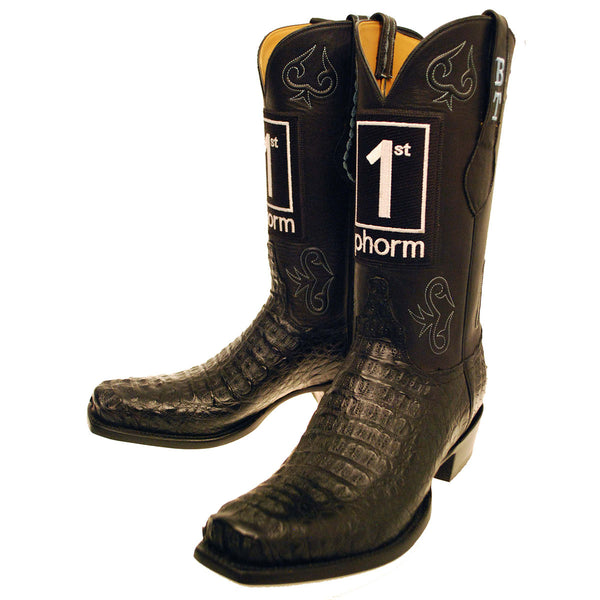 Black Hornback Caiman Crocodile Back Cut Vamp with Black Ranch Hand Calfskin Quarters