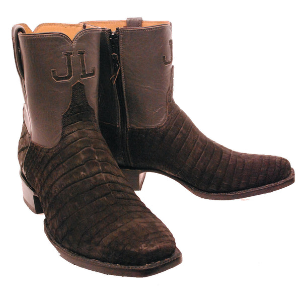 "Black Sueded Nile Crocodile Belly 7"" Custom Lucchese Boots"