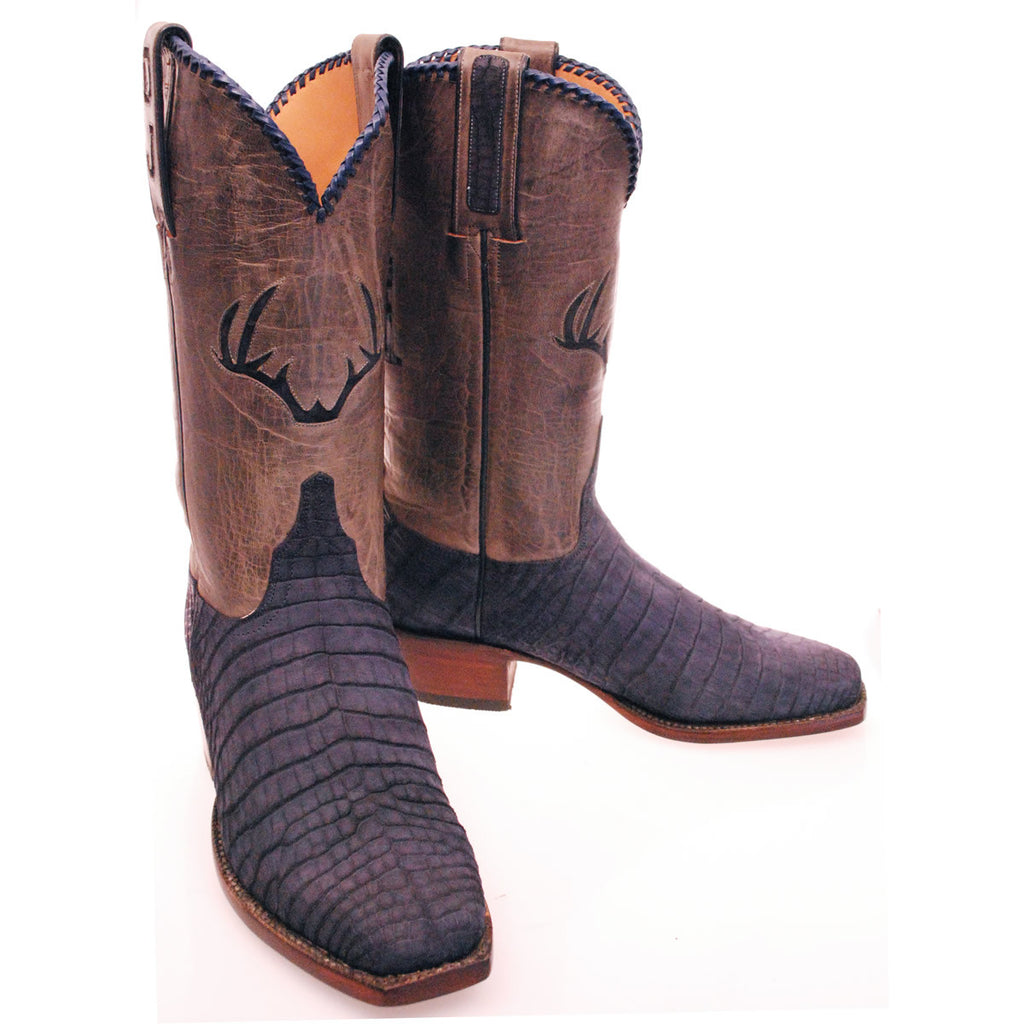 Navy Blue Sueded Nile Crocodile Belly Custom Lucchese Boots