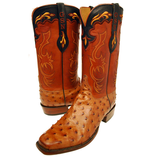 Barnwood Burnished Full Quill Ostrich Vamp with Tan Ranch Hand Calfskin Quarters