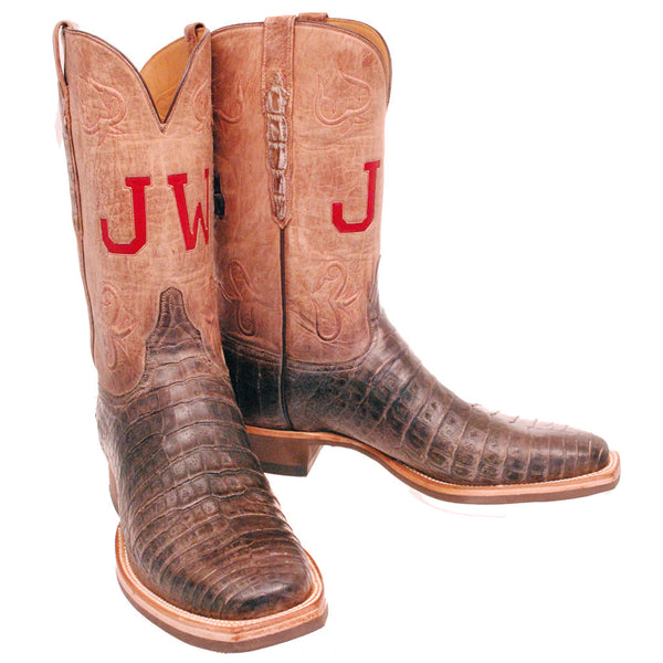 Custom Lucchese Boots - Stone Washed Caiman Crocodile