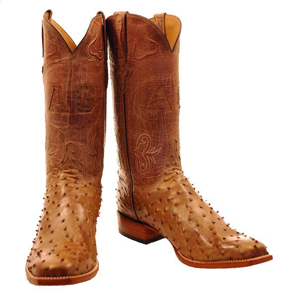 Tan Burnished Full Quill Ostrich Mexican Flag Custom Lucchese Boots