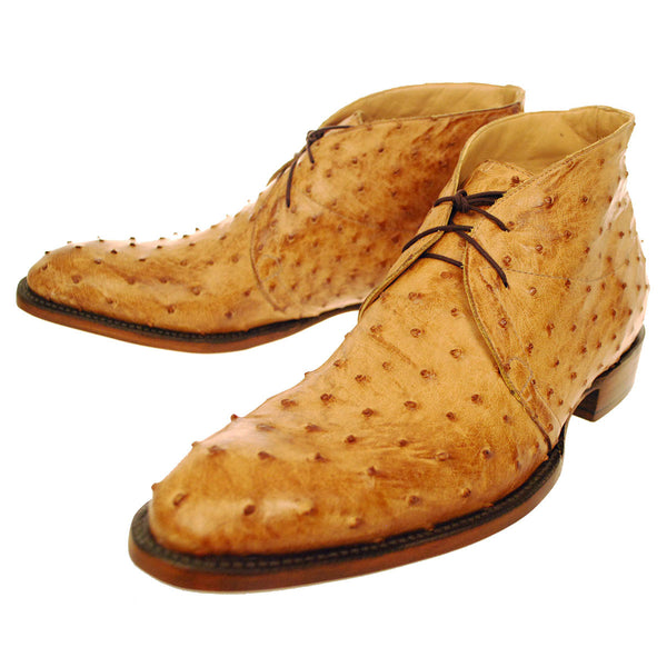 Tan Burnished Full Quill Ostrich Chukka Boot