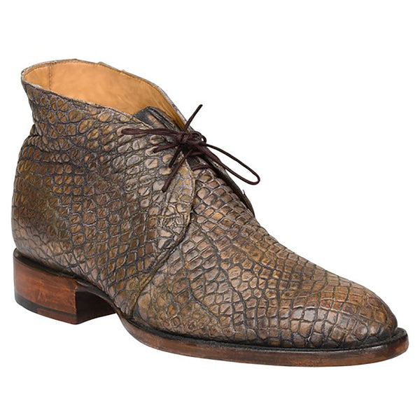Tan Stonewashed Giant Wild American Alligator Chukka Boot
