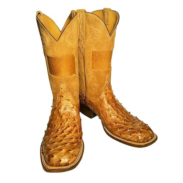 Tan Burnished Full Quill Ostrich Ohio Inlay Custom Lucchese Boots