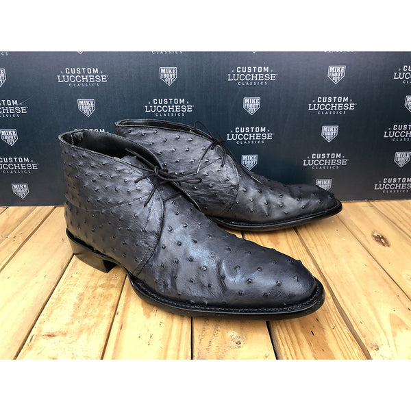 Custom Lucchese Chukkas - Black Full Quill Ostrich