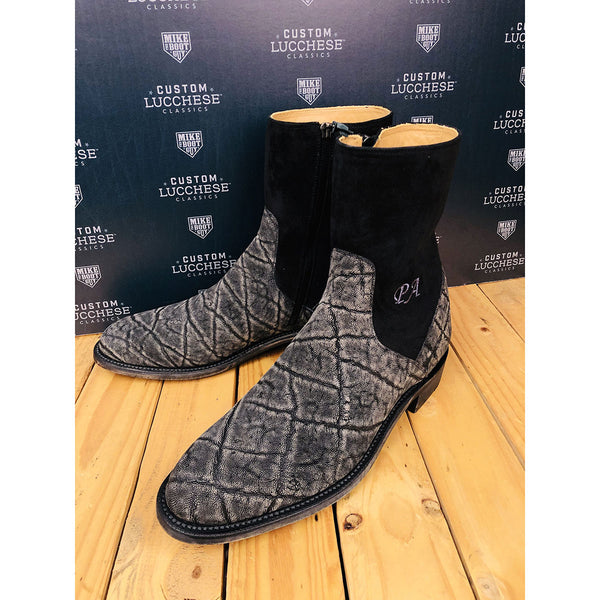 Custom Lucchese Chelsea Boots - Grey Safari Elephant and Black Suede
