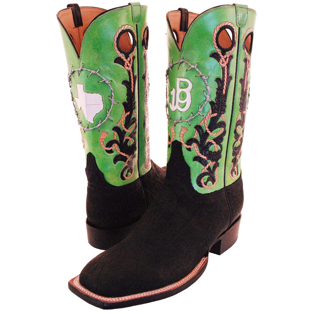 JB 19 LIME GREEN HAND TOOLED