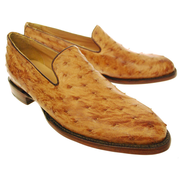 Tan Burnished Full Quill Ostrich Loafer