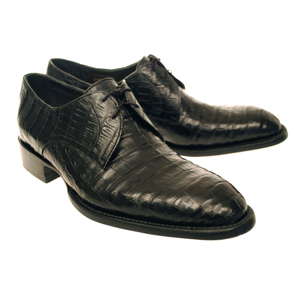 Black Caiman Crocodile Belly  Oxford
