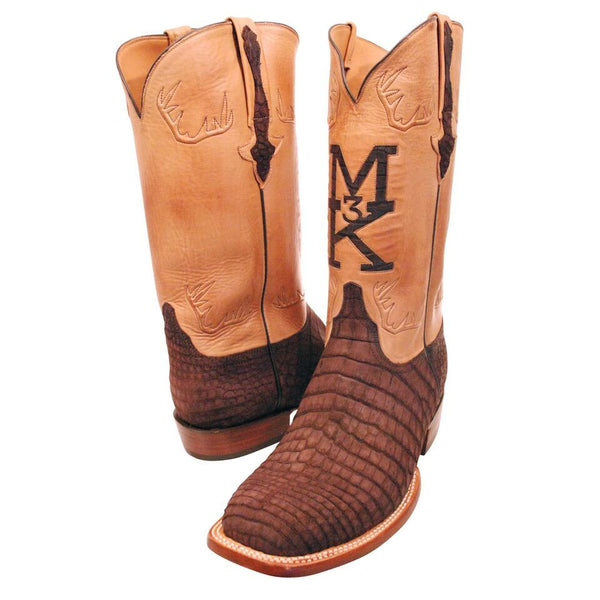 Chocolate Sueded Nile Crocodile Belly Custom Lucchese Boots