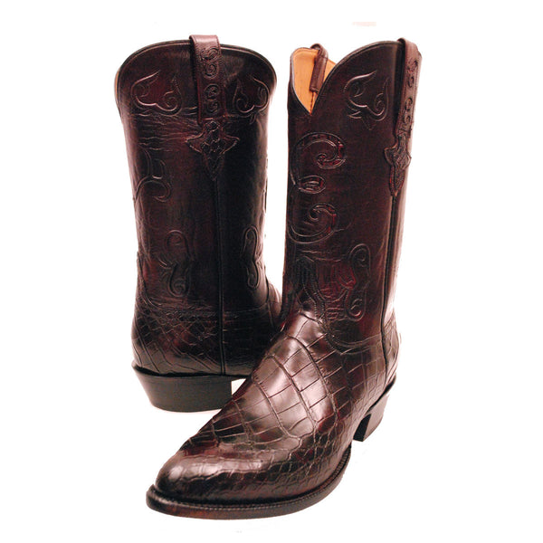 Custom Black Cherry American Alligator Lucchese Classics