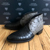 Custom Lucchese Chukka with Black Nile Crocodile Belly on front with Grey Full Quill Ostrich on back.  Initials hand cut inlayed.