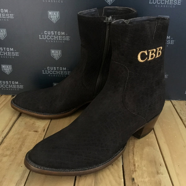 Custom Lucchese Jonah with Chocolate Hippo with initials stitched