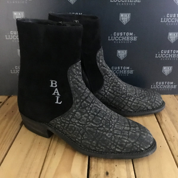 Custom Lucchese Jonah with Grey Safari Elephant with Black Calfskin Suede with initials stitched