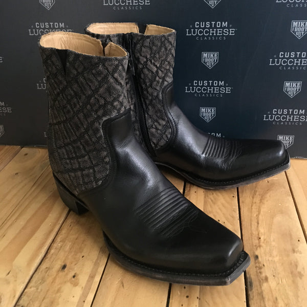 Custom Lucchese Jonah with Black Mad Dog Goat with Grey Safari Elephant