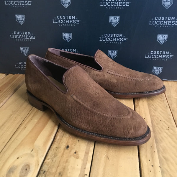 Custom Lucchese Loafer with Tan Hippo with Topline Piping