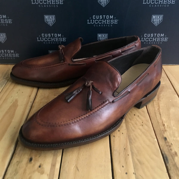 Custom Lucchese Loafer with Tan Ranch Hand Calfskin with Topline Piping and Tassels