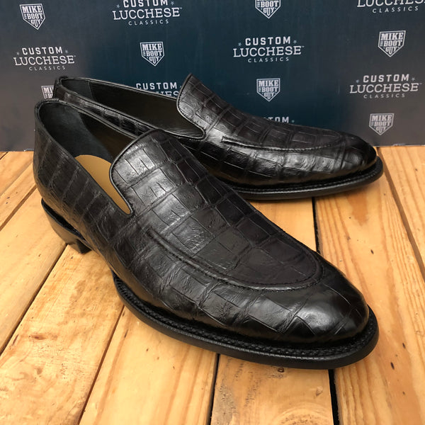 Custom Lucchese Loafer with Black Caiman Crocodile with Topline Piping