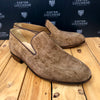 Custom Lucchese Loafer with Two Tone - Tan Hippo with Topline Piping and Chocolate Hippo heel piece