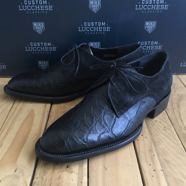 Custom Lucchese Oxford with Black Giant Wild American Alligator with Black Sueded Elephant