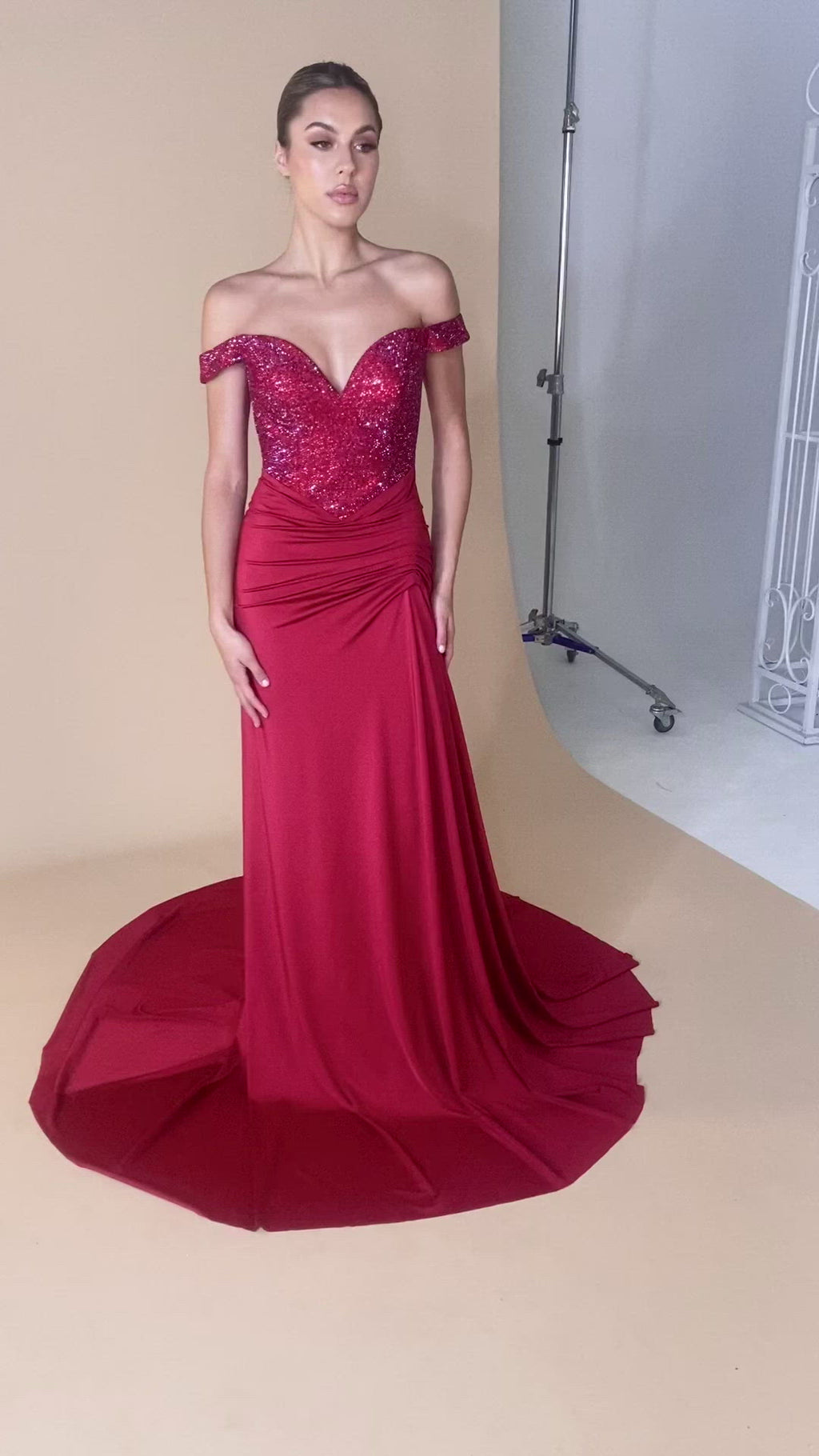 Portia & Scarlett Finola Gown PS21232 | Red Prom | Evening Gown Model Video MP4
