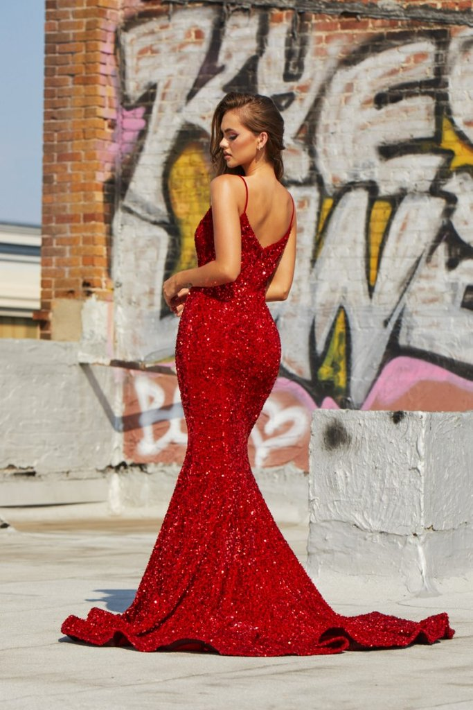 Portia & Scarlett Katerina Gown PS21207 | Red Prom Dress