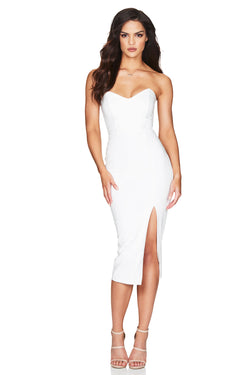 Model Showcasing - Nookie Bella Strapless Midi Dress